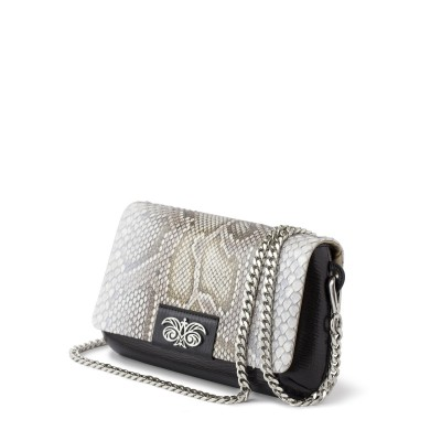 "Clutch ""AVA Baby"" in calf leather and python"
