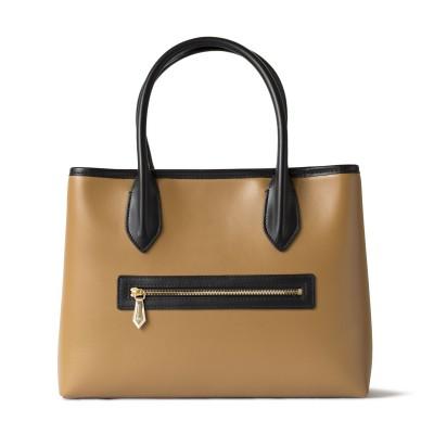 Smooth leather tote bag, caramel color - back pocket