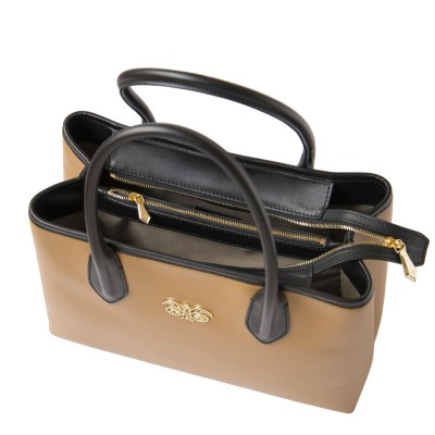 Smooth leather tote bag, caramel color - open