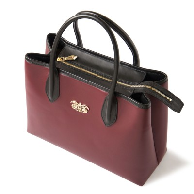 Smooth leather tote bag, burgundy color - side view