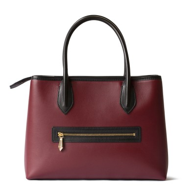 Smooth leather tote bag, burgundy color - back view