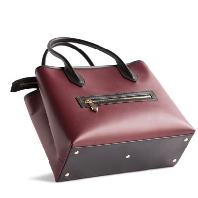 Smooth leather tote bag, burgundy color - details