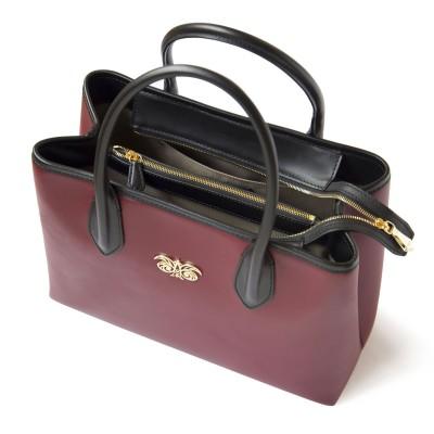 Smooth leather tote bag, burgundy color - zoom on details