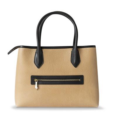 Grained leather Tote beige color - back pocket