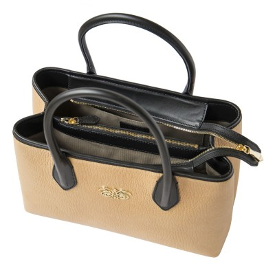 Grained leather Tote beige color - open