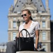 Grained leather Tote black color - French model