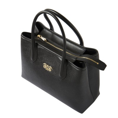 Grained leather Tote black color - view on fermeture