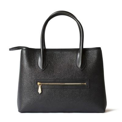 Grained leather Tote black color - back pocket