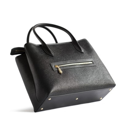 Grained leather Tote black color - side view