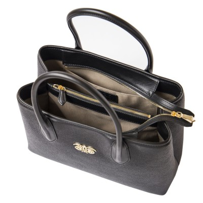 Grained leather Tote black color - open
