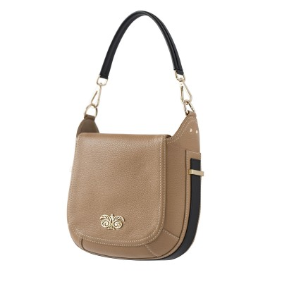 """Crossbody bag """"NEW FRENCHY"""" in grained leather, beige color, side view"""