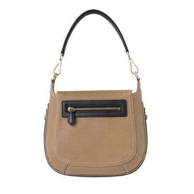 """Crossbody bag """"NEW FRENCHY"""" in grained leather, beige color, back view"""