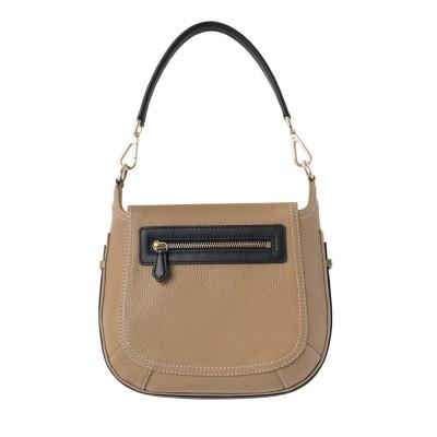 FRENCHY, sac double porté en cuir foulonné coloris beige, vue de dos
