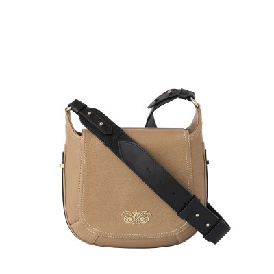 """Crossbody bag """"NEW FRENCHY"""" in grained leather, beige color, with a shoulder strap"""