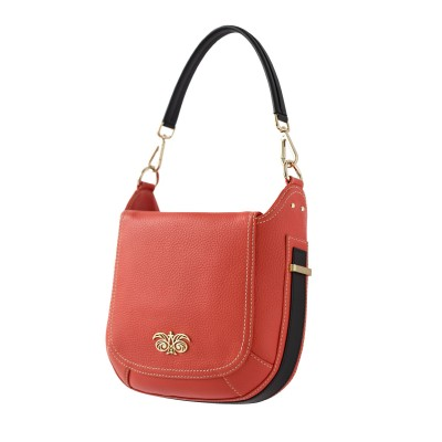 """Crossbody bag """"NEW FRENCHY"""" in grained leather, red hibiscus color, side view"""