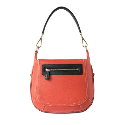 """Crossbody bag """"NEW FRENCHY"""" in grained leather, red hibiscus color, back view"""