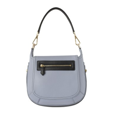 """Crossbody bag """"NEW FRENCHY"""" in grained leather, grey lavender color, back view"""
