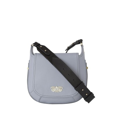 """Crossbody bag """"NEW FRENCHY"""" in grained leather, grey lavender color, with a shoulder strap"""