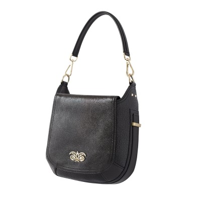 """Crossbody bag """"NEW FRENCHY"""" in grained leather, black color, side view"""