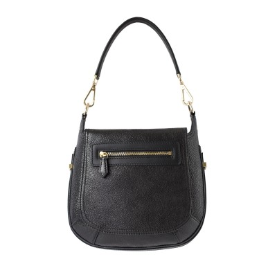 """Crossbody bag """"NEW FRENCHY"""" in grained leather, black color, back view"""