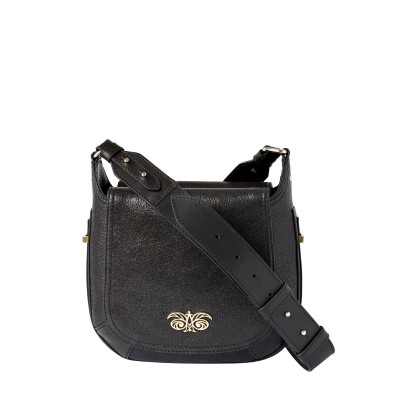 """Crossbody bag """"NEW FRENCHY"""" in grained leather, black color, with a shoulder strap"""