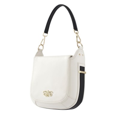 Crossbody bag NEW FRENCHY in smooth leather, white color - side view