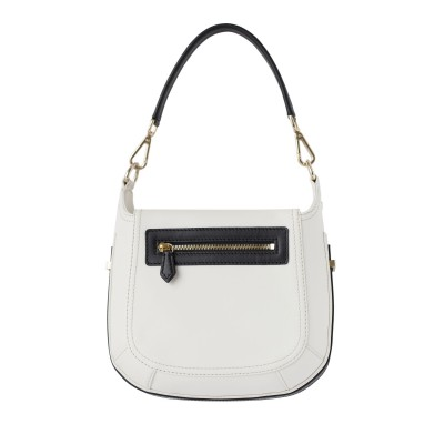 Crossbody bag NEW FRENCHY in smooth leather, white color - back view