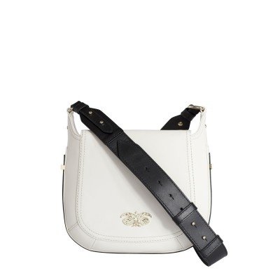 Crossbody bag NEW FRENCHY in smooth leather, white color - with a shoulder strap