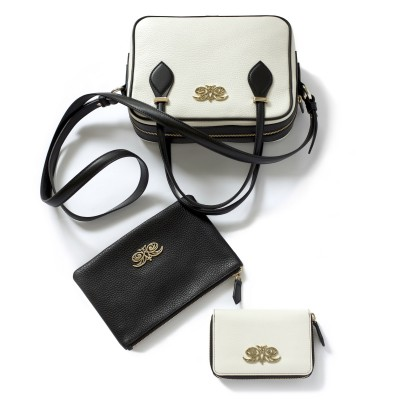 JULIETTE, leather handbag in grained leather, white color - with accessories