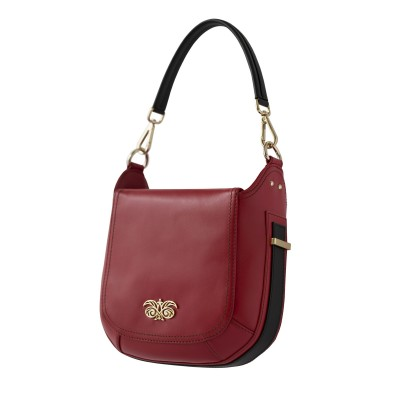 Crossbody bag NEW FRENCHY in smooth leather, red color - side view