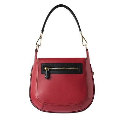 Crossbody bag NEW FRENCHY in smooth leather, red color - back view