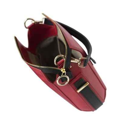 Crossbody bag NEW FRENCHY in smooth leather, red color - open