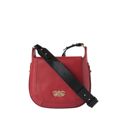 Crossbody bag NEW FRENCHY in smooth leather, red color - with shoulder strap