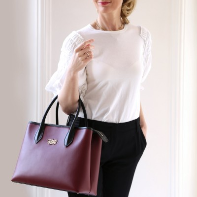 "Leather ""BIG TOTE"" - Burgundy"
