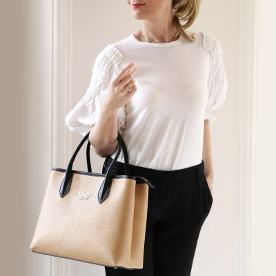 "Leather ""BIG TOTE"" - Beige"