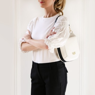 Crossbody bag NEW FRENCHY in smooth leather, white color - zoom on a model