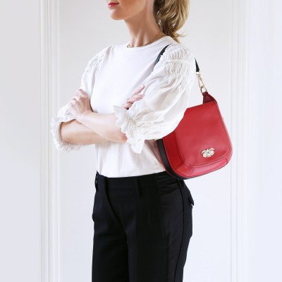 Crossbody bag NEW FRENCHY in smooth leather, red color - on shoulder