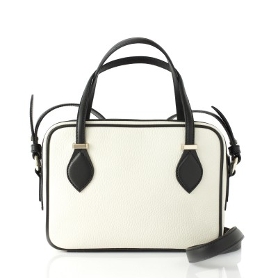 JULIETTE, leather handbag in grained leather, white color - back view