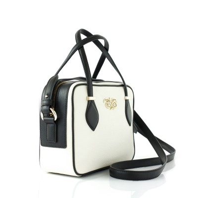 JULIETTE, leather handbag in grained leather, white color - profile view