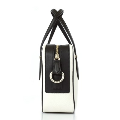 JULIETTE, leather handbag in grained leather, white color - profile view with details