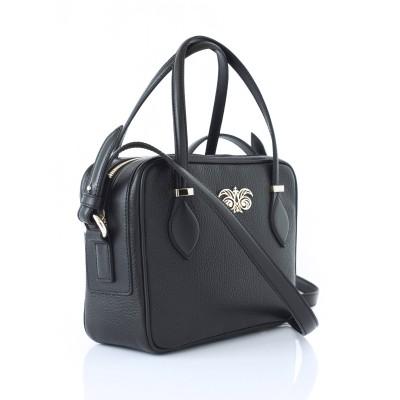 JULIETTE, leather handbag in grained leather, black color - profile view
