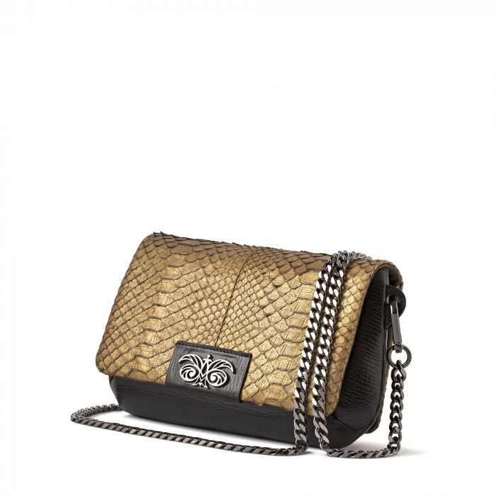 small handbag in python gold