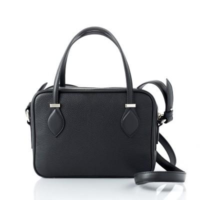 JULIETTE, leather handbag in grained leather, black color - back view