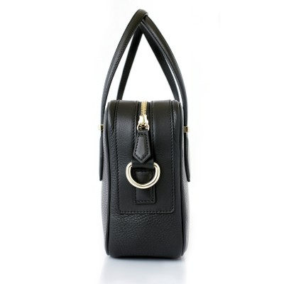 JULIETTE, leather handbag in grained leather, black color - profile view and details
