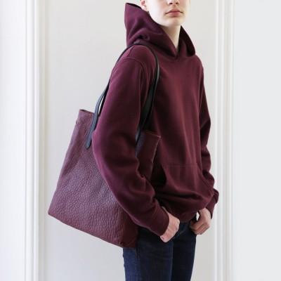 """""""Woven Tote"""" bag - Bordeaux"""