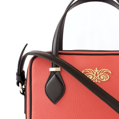 JULIETTE, leather handbag in grained leather, hibiscus color - details