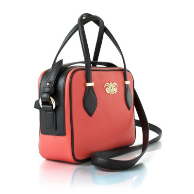 JULIETTE, leather handbag in grained leather, hibiscus color - profile view