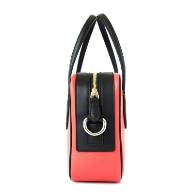 JULIETTE, leather handbag in grained leather, hibiscus color - profile view with details