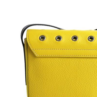 Small shoulder bag DINA ROCK in grained leather, lemon color - details