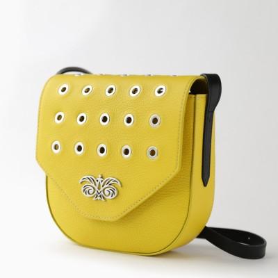 Small shoulder bag DINA ROCK in grained leather, lemon color - side view
